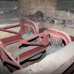 The bells from above, note the original timber support in the foreground.