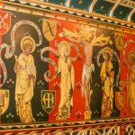 Detail of a painted mural, or Reredos, in the extension.